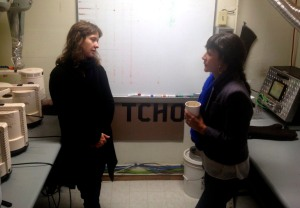 Molly chatting with Tcho chocolate maker, Zohara.
